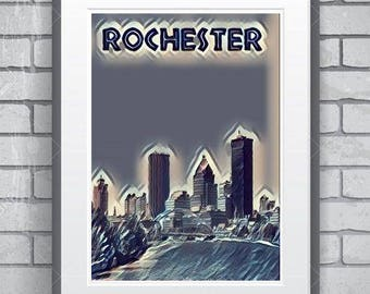 Rochester New York minimalist sunset  poster 11 by 14 inches minimalist style
