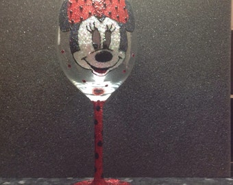 Minnie mouse large red wine glass