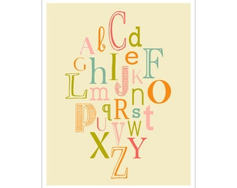Children's Wall Art / Nursery Decor ABCs 11x14 inch poster print by Finny and Zook