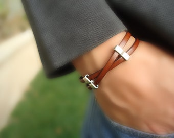 Free Shipping. Men's Leather Bracelet: Genuine Tan Leather, Silver Sliders with Magnetic Clasp.