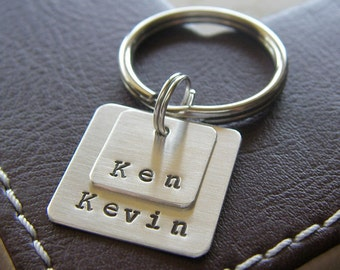 Personalized Key Chain with Layered Square Name Charms (2) - Custom Hand Stamped Sterling Silver Keychain