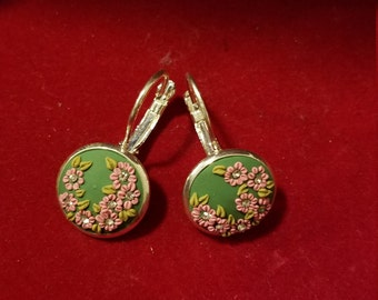 Pink  and green Floral Dangle earrings.