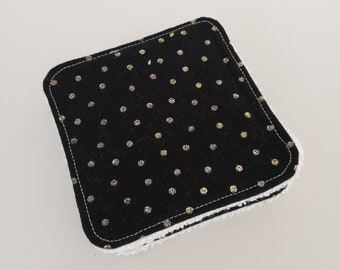Washable black and gold cotton and Terry cloth