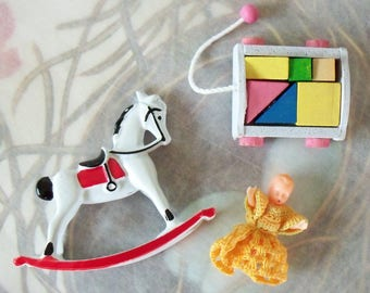 Vintage / Dollhouse Toy Miniatures / Doll with Crocheted Dress / Rocking Horse and Wooden Blocks