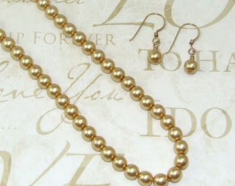 Gold Glass Pearl Earring and Necklace Set, 18 inch Gold Pearl Jewelry Set, Pearl Bridal Set