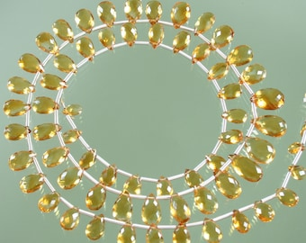 AA Citrine Faceted Pear Briolettes