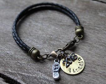 Leather Charm Bracelet - Half Marathon Charm Bracelet - 2018 - Black Braided Leather - 13.1