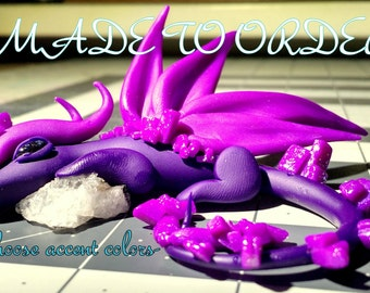 MADE TO ORDER** Crystal Color Dragon-Crystal Dragon-Polymer Clay Dragon-Quartz