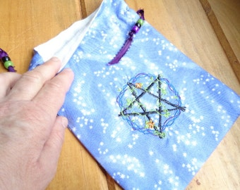 Pentangle of Venus on Lavender - Tarot or Magic Purpose Bag
