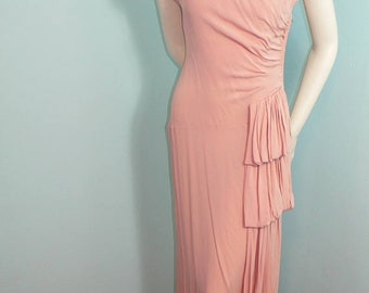 ON SALE 1940's Pale Dusty Rose Pink Gown with Shirring and Gathered Side Drape