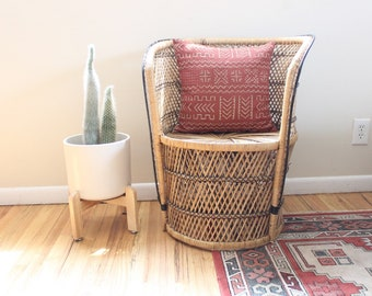 Vintage Rattan Chair Accent Chair Wicker Peacock Style Chair Boho Chair  Boho Home Decor
