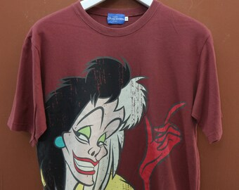 Vintage 101 Dalmations Cruella De Ville T-Shirt Disney Cartoon Animation Top Tee Size L