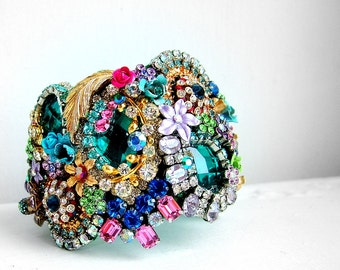The Peacock - OOAK wrist cuff - ready to ship xx
