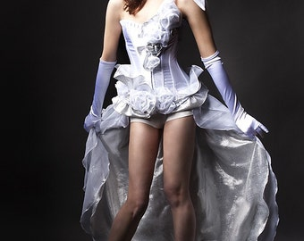Custom size white and iridescent Burlesque corset prom dress Made to Order S-XL