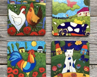 Set of 4 Coasters, cat, rooster, hen, cow, tile coaster, coaster table, Home decor by Isabelle Malo