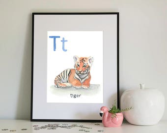 T is for Tiger, alphabet series - Print of Original Watercolour