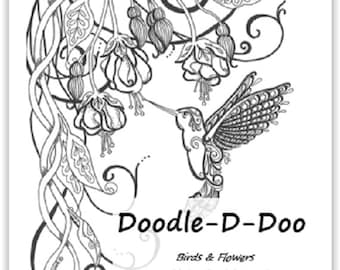 Doodle-D-Doo Coloring Pages 2 -  Birds and Blooms
