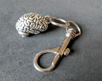 Brain key-chain on belt-clip key-ring