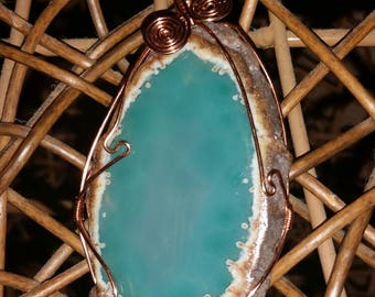 Sliced turquoise agate wire wrapped with copper, reverse able with wire spirals