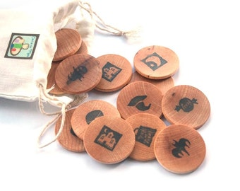 SALE Halloween Toy Matching Game - Travel Games - Trick or Treat - Natural Organic Wooden Toy