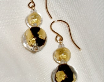 24K Gold and Black Murano Tosca Glass Earrings