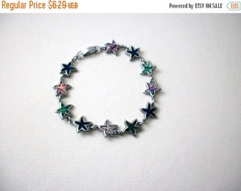 ON SALE Vintage Silver Tone Starfish Paua Abalone Belly Inlays 7 3/4 Inch Bracelet 8516