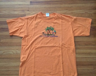 Vintage It's 5 O'Clock Somewhere Embroidered Paradise Island Life Parrot T-Shirt