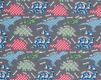 Kid's Dinosaur Fabric, Fun Coloured Dinosaur Cotton Fabric, Red, Blue and Green Dino Fabric
