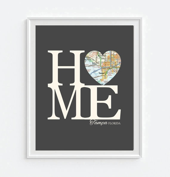 Tampa bay florida home heart vintage map art print print like this item negle Gallery