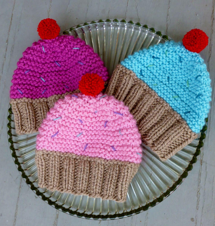 INSTANT DOWNLOAD Cupcake Hat Knitting Pattern,Knit Cupcake Hat ...