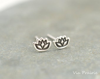 Lotus flower studs, Lotus stud earrings, Lotus Jewelry, Zen gift, Yoga jewelry, Tiny studs, Yoga stud earrings, Sterling silver jewelry