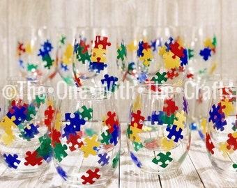 Stemless Autism Awareness Glass