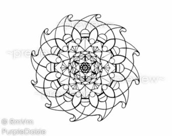 Printable Color Page Mandala Coloring Zen Doodle Childrens Activity Adult ZenDoodle Art Large JPEG File Flower Mandala - Instant Download