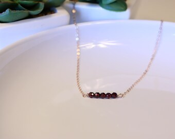 Dainty Garnet Necklace - Gemstone Necklace - Faceted Garnet Necklace - Sterling Silver - Rose Gold - Yellow Gold - January Birthstone