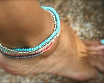 Turquoise Anklet Valentine Gift Beaded Bracelet Stack Turquoise Ankle Bracelet Boho Beach Bracelet Coral Gray Beige Gift Woman Man Holiday