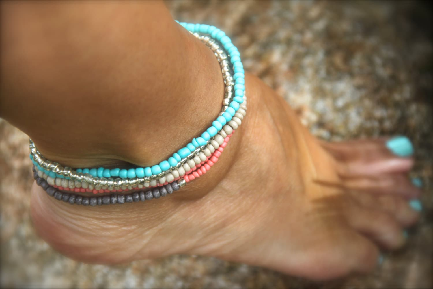 turquoise and gold for olizz bracelets anklet sideways good luck bracelet ankle wishbone women sybaris