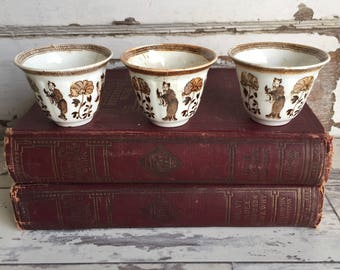 Antique Saki Wine Teacups - Porcelain Asian Transferware RARE Brown and White Peonies