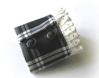 Black and white fabric cuff, black and white plaid fabric bracelet, white eyelet ribbon trim wristlet cuff