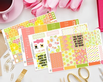 Life And Lemons | Planner Sticker Kit for Erin Condren | Weekly Kit, Vertical Planner, Summer, Tropical, Juice, Fruit, Lime, Orange