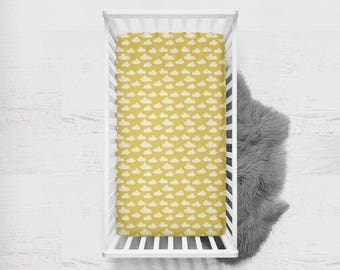 Fitted Crib Sheet Clouds in Mustard Yellow. Ready to Ship. Gold Baby Bedding. Yellow Crib Sheet. Toddler Sheet. Cloud Crib Sheet.