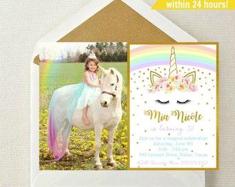 Rainbow Unicorn Photo Invitation // Unicorn Invite // Rainbow Unicorn Invitation // Unicorn Birthday Invite // Unicorn Invite // Unicorns