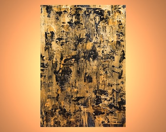 Original abstract painting, small painting, gold on paper, palette knife and brushes, abstract on paper,abstract acrylic, abstract art, gold