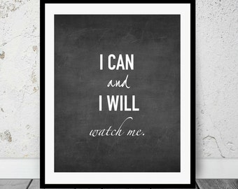 Motivation Quote, Fitness, I can and I will, Chalkboard Print, Wall Art, Printable Decor, Digital Download, Printable Art, Instant download