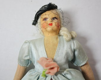 """Bisque and Cloth Vintage Doll Victorian Grandmother 7"""""""