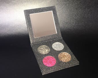 Pressed glitter palette, Four 26mm pan pressed glitter eyeshadow palette with mirror! Customizable with any four shades. Glittery eyeshadow