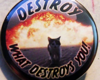 DESTROY WHAT DESTROYS YoU - KiTTY  pinback buttons badges pack!