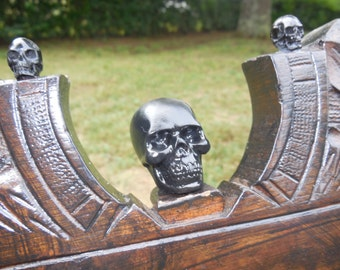 Skull Rocking Chair Black Velvet Gothic Antique Rocker *Halloween Dream*