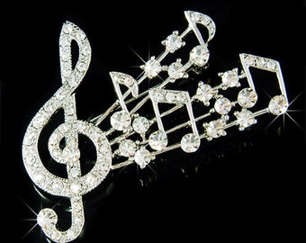 Swarovski Crystal TREBLE G CLEF Love Music Musical Note Pin Brooch Jewelry Musican Best Friends Mother's Day Daughter Band Christmas Gift