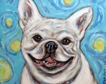 Cute French Bulldog Happy white Frenchie art original dog painting