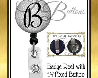 Custom Badge Reel, Personalized Grey Floral Badge Reel, Silver Floral Badge Reel, Custom Initial Badge Reel, Retractable Badge Reel, BRN010